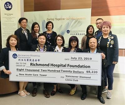Vancouver Diamond Lions Installation Gala Raises Over $8,000 for the Richmond Hospital Acute Care Tower