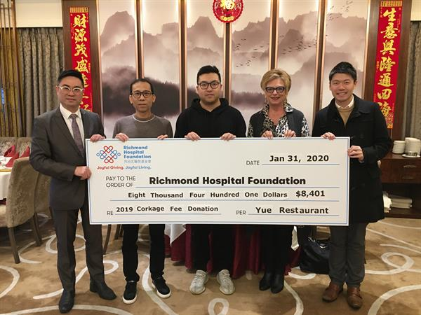 Yue Delicacy Restaurant Gives Back to the Community by Donating $8,400 to Richmond Hospital Foundation
