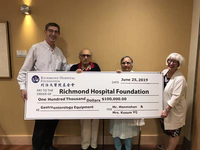 Vij Family Donates $100,000 to Improve Colon Cancer Screening at Richmond Hospital and Inspire Others to Give