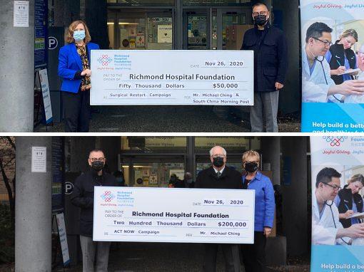 Michael Ching 先生捐贈$250,000 予列治文醫院基金會