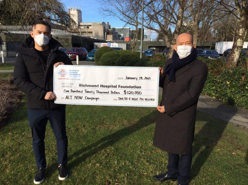 善心夫婦捐款 $120,000 支持列治文醫院興建全新急症護理大樓