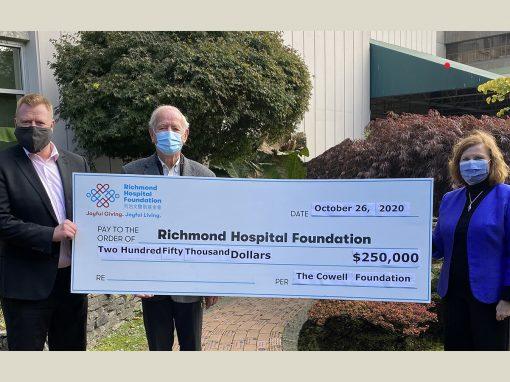 Cowell基金會向列治文醫院捐贈$250,000