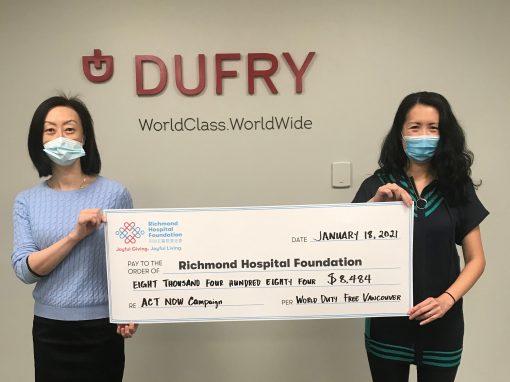 溫哥華機場寰宇免稅店為列治文醫院新急症護理大樓籌得超過$8,000 善款