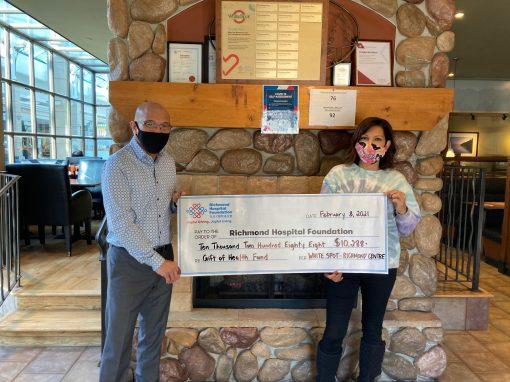 列治文中心White Spot 餐厅延续捐献精神 为列治文医院基金会筹得$10,288 善款