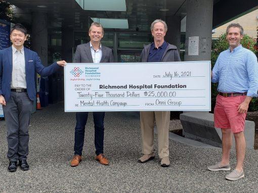 ONNI集團向列治文醫院基金會精神健康籌款行動捐款$25,000, 共建美滿將來